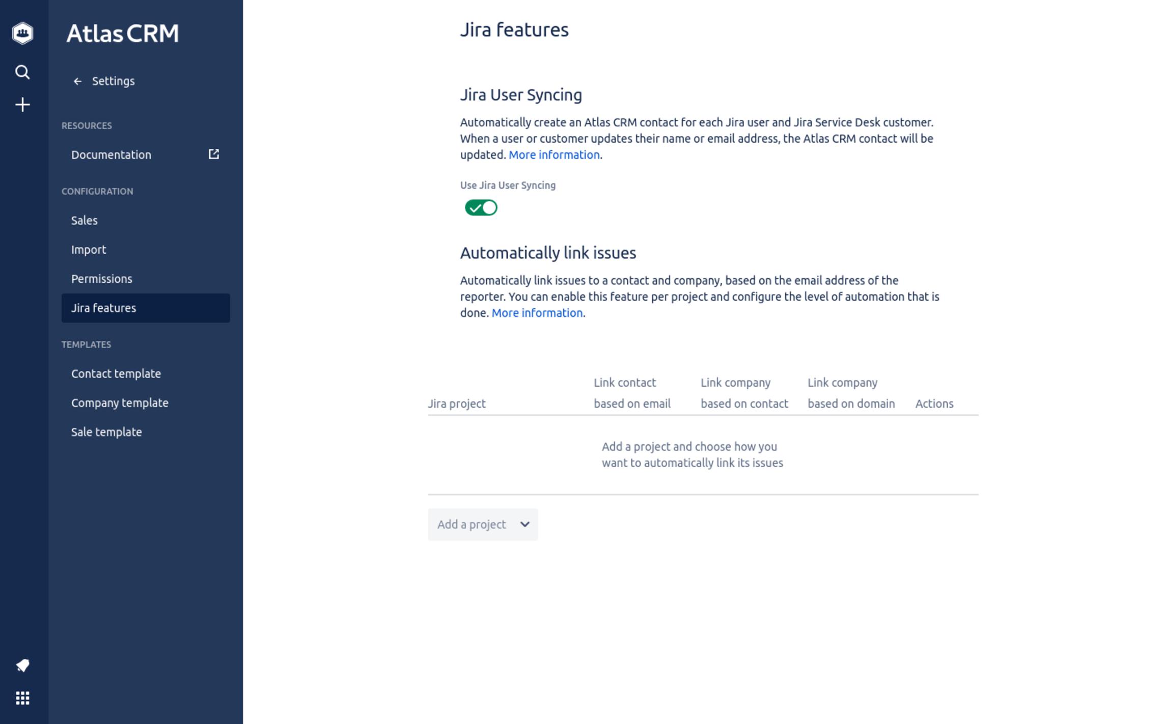 Jira user syncing in Atlas CRM