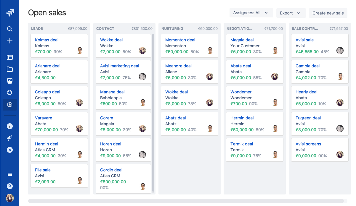 Manage sales in JIRA