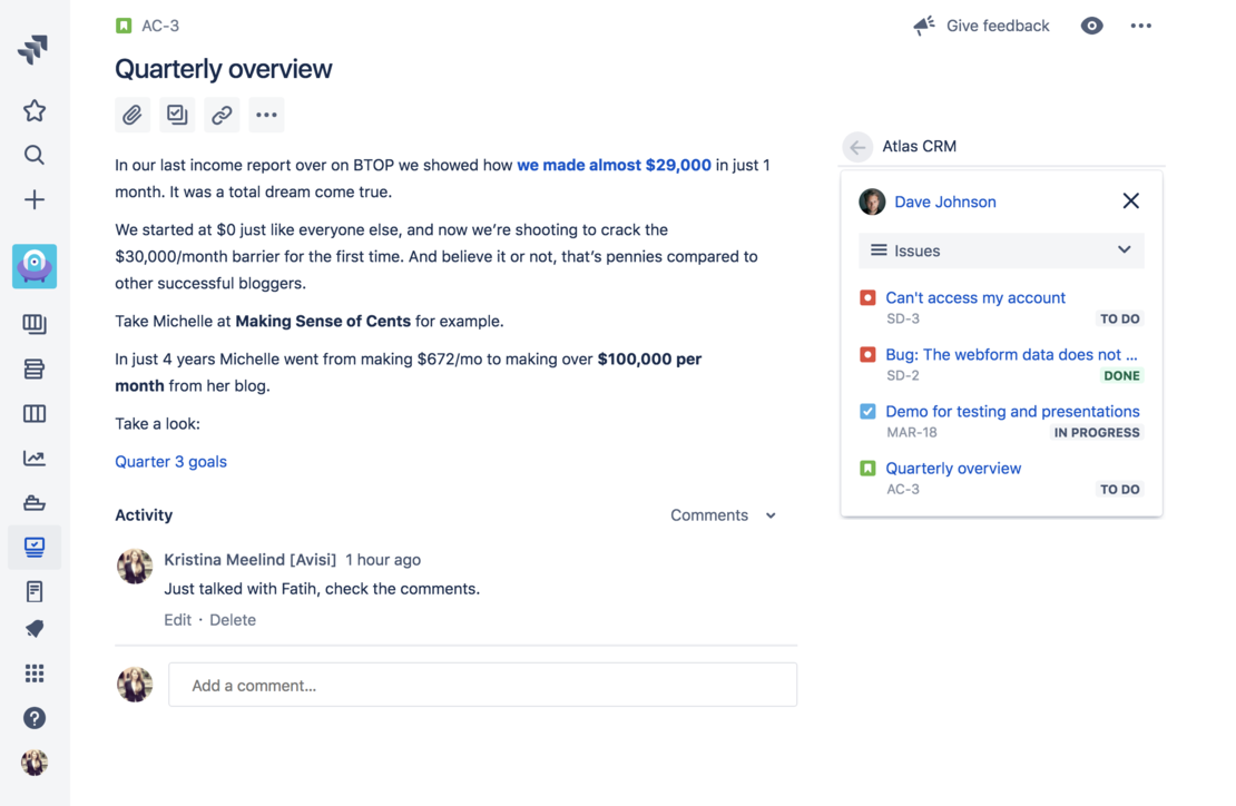 See all your customer information inside your Jira issues