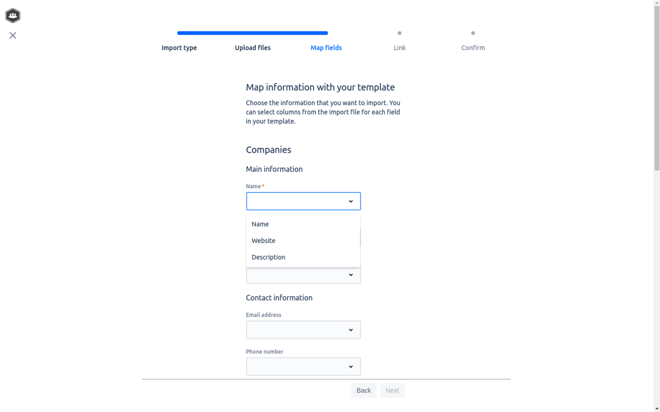 Match fields with templates in Atlas CRM