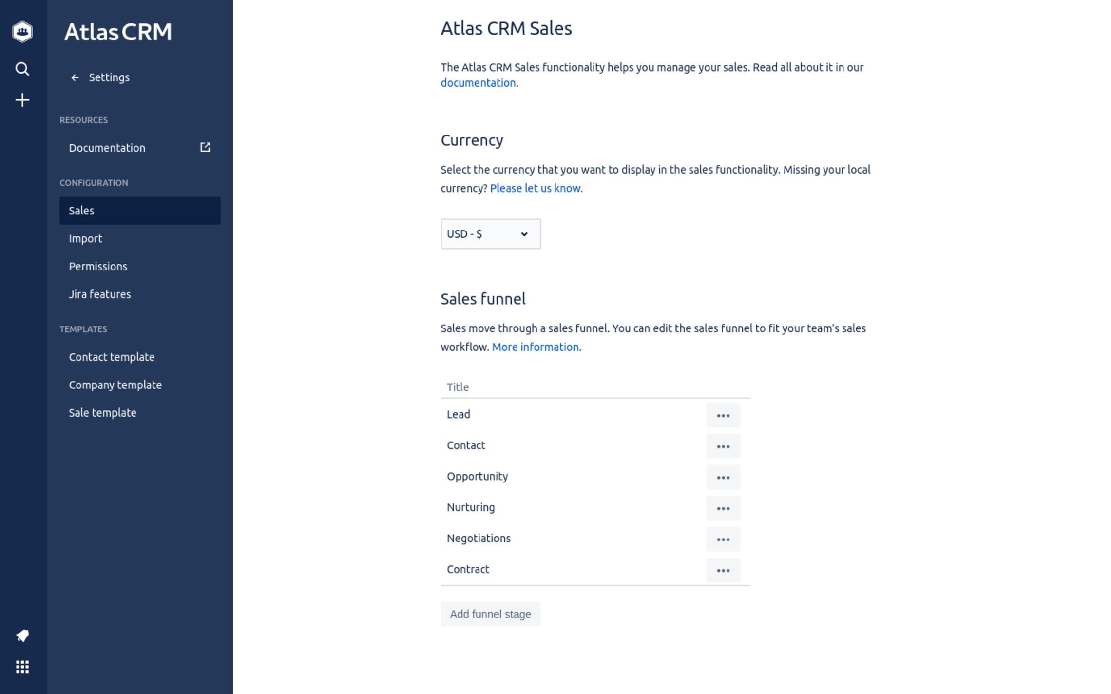 Configure the sales funnel in Atlas CRM