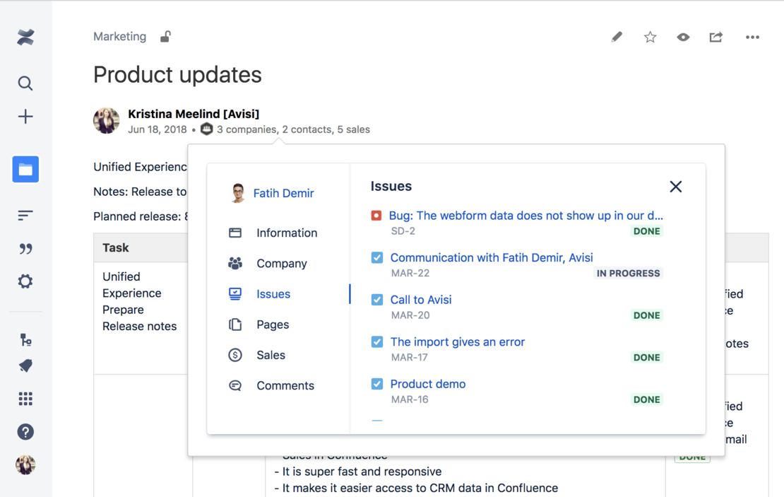 See all your CRM data on the COnfluence pages