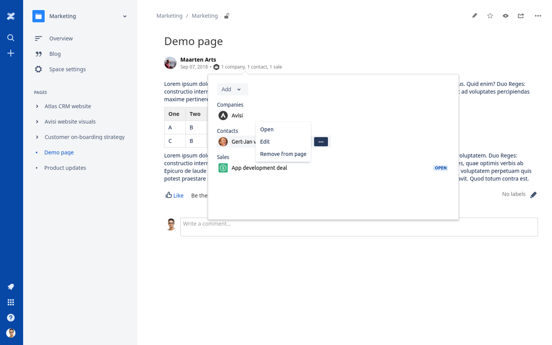Actions to open, edit and delete a customer in a Confluence page