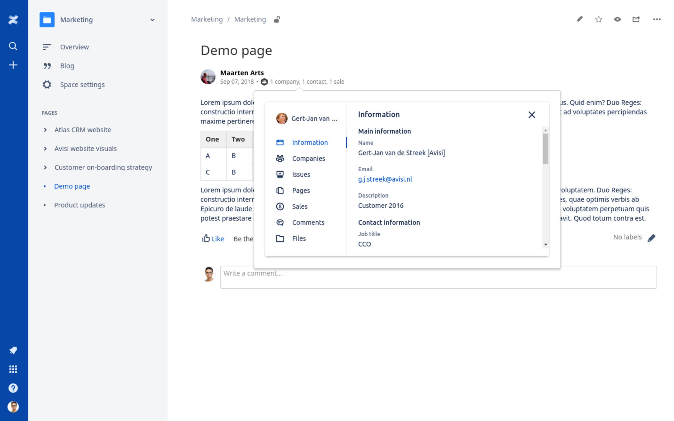 More information about a customer in a Confluence page